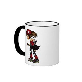Rojo de la emisión de Derby del rodillo Tazas De Café