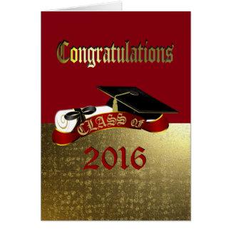 Rojo de la enhorabuena y tarjeta de la graduación