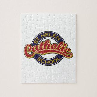 Rojo de la escuela católica del St. Helen en azul Puzzle Con Fotos