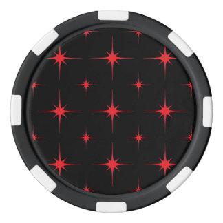 Rojo de la estrella 6 fichas de póquer