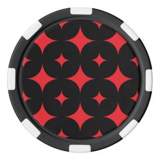 Rojo de la estrella 7 fichas de póquer