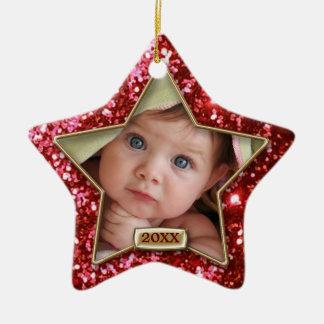 Rojo de la estrella de la chispa/foto del oro ornamentos para reyes magos