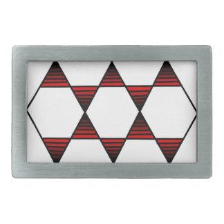 Rojo de la estrella del hexágono hebilla de cinturon rectangular