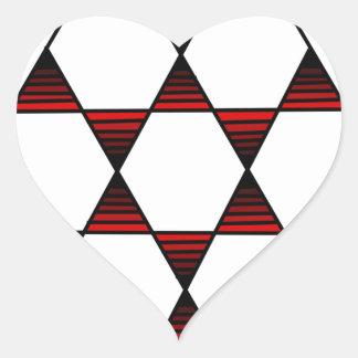 Rojo de la estrella del hexágono pegatina en forma de corazón