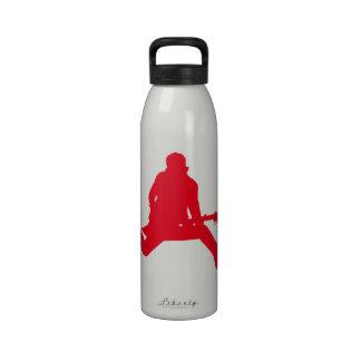 Rojo de la estrella del rock botella de agua