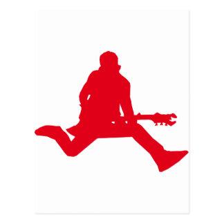 Rojo de la estrella del rock tarjeta postal