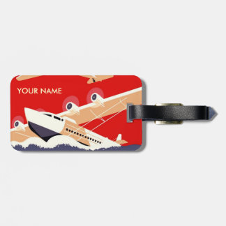 Rojo de la etiqueta del equipaje del viaje del vin etiquetas para maletas