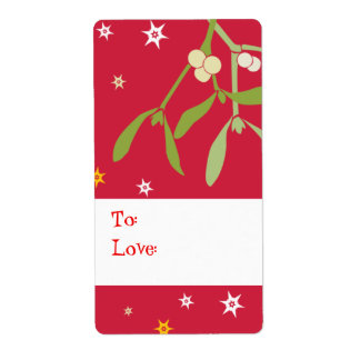 Rojo de la etiqueta del regalo del muérdago del etiqueta de envío