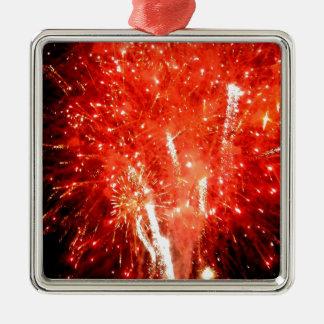 Rojo de la explosión adorno navideño cuadrado de metal