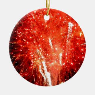 Rojo de la explosión adorno navideño redondo de cerámica