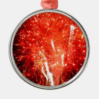 Rojo de la explosión adorno navideño redondo de metal