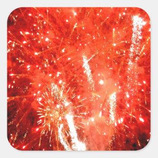 Rojo de la explosión pegatina cuadrada