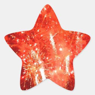 Rojo de la explosión pegatina en forma de estrella