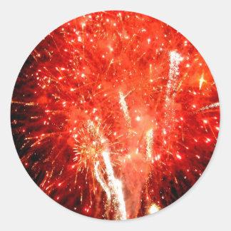 Rojo de la explosión pegatina redonda