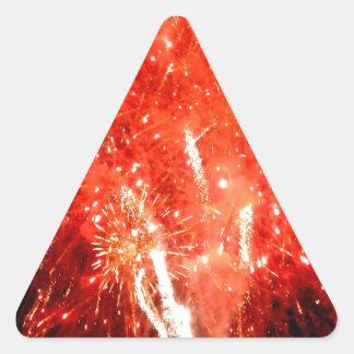 Rojo de la explosión pegatina triangular