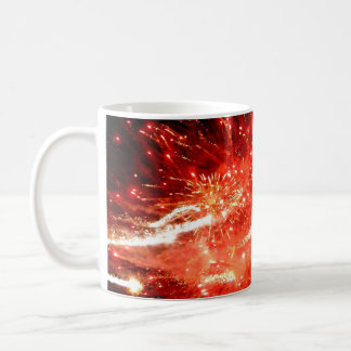 Rojo de la explosión taza básica blanca
