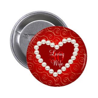 Rojo de la falsa perla y aniversario impresos del pin redondo 5 cm