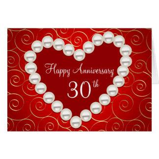 Rojo de la falsa perla y aniversario impresos del tarjeta de felicitación