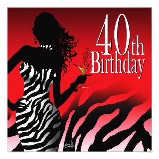 Rojo de la fiesta de cumpleaños de la cebra de la  anuncios personalizados