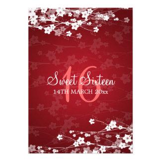 Rojo de la flor de cerezo del fiesta del dulce die invitaciones personalizada