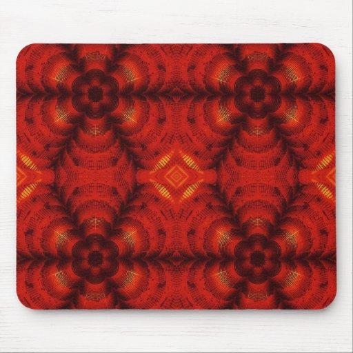 rojo de la flor del mosaico tapetes de ratones