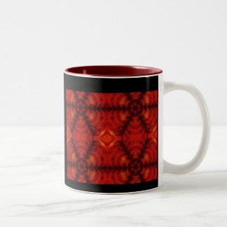 rojo de la flor del mosaico tazas