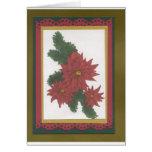 Rojo de la flor del navidad felicitación