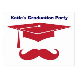 Rojo de la graduación del bigote tarjetas postales