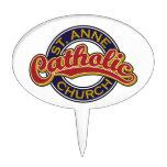 Rojo de la iglesia católica de ST ANNE en azul Figura Para Tarta