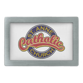 Rojo de la iglesia católica de ST ANNE en azul Hebillas Cinturon Rectangulares
