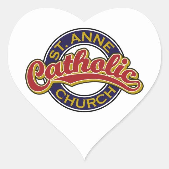 Rojo de la iglesia católica de ST ANNE en azul Pegatina En Forma De Corazón