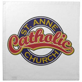 Rojo de la iglesia católica de ST ANNE en azul Servilletas De Papel