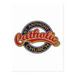 Rojo de la iglesia católica de St Anthony en azul Postal