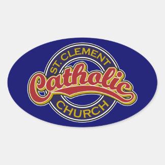 Rojo de la iglesia católica de St Clement en azul Colcomanias De Oval Personalizadas