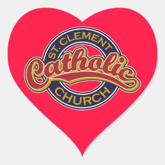 Rojo de la iglesia católica de St Clement en azul Pegatina En Forma De Corazón