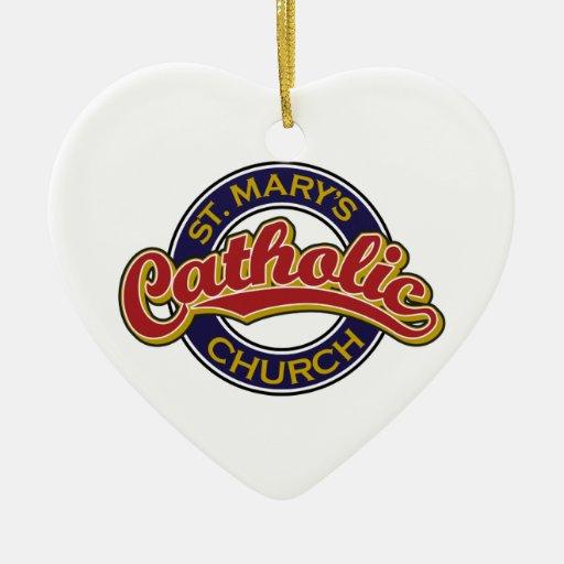 Rojo de la iglesia católica de St Mary en azul Adorno Navideño De Cerámica En Forma De Corazón
