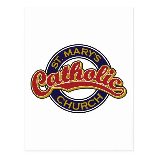 Rojo de la iglesia católica de St Mary en azul Postal