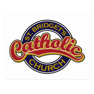 Rojo de la iglesia católica del St. Bridget en azu Postales