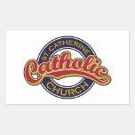 Rojo de la iglesia católica del St. Catherine en Pegatina Rectangular