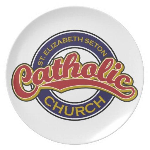 Rojo de la iglesia católica del St. Elizabeth Seto Platos Para Fiestas