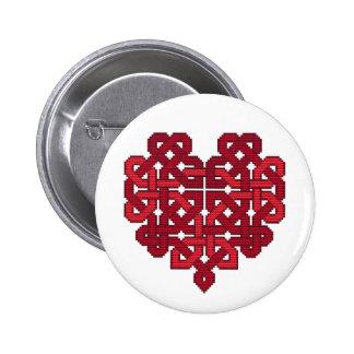 Rojo de la insignia del corazón de Knotwork del Ce Pin Redondo 5 Cm