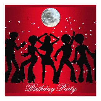 Rojo de la invitación de la fiesta de cumpleaños d