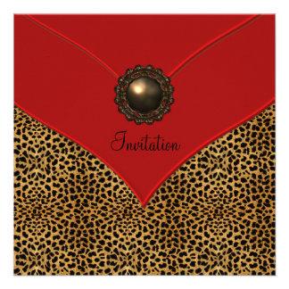 Rojo de la joya del leopardo todo el fiesta de la invitación personalizada
