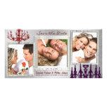 Rojo de la lámpara del damasco y reserva de plata tarjetas fotográficas
