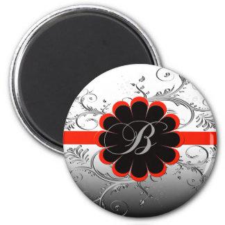 Rojo de la letra B del monograma Imán Redondo 5 Cm