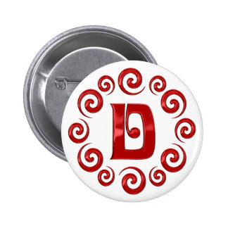 Rojo de la letra D del monograma Pin