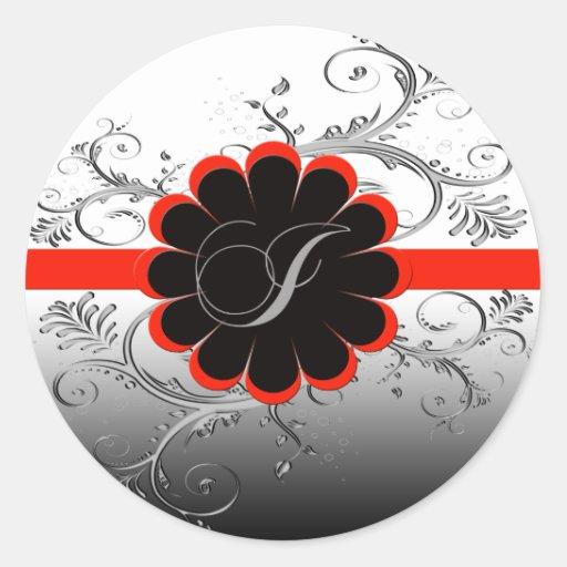 Rojo de la letra I del monograma Pegatinas Redondas