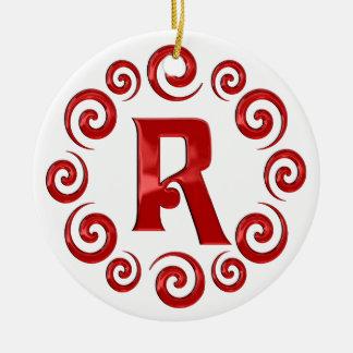 Rojo de la letra R del monograma Ornamento Para Reyes Magos