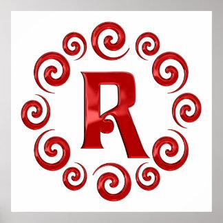 Rojo de la letra R del monograma Impresiones