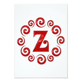 Rojo de la letra Z del monograma Comunicados Personales